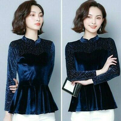 Details about  /Lady Velevt Peplum Tops Shirts Blouse Vintage Style Mandarin Collar Slim Chinese