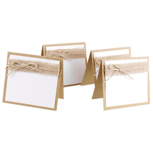 aus Papier und Jute, 10x Gästekarten Platzkarten Namenkarten Tischdekoration