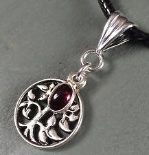 AA Garnet Tree Of Life Silver Plated Pendant Healing Wicca Pagan Reiki Chakra
