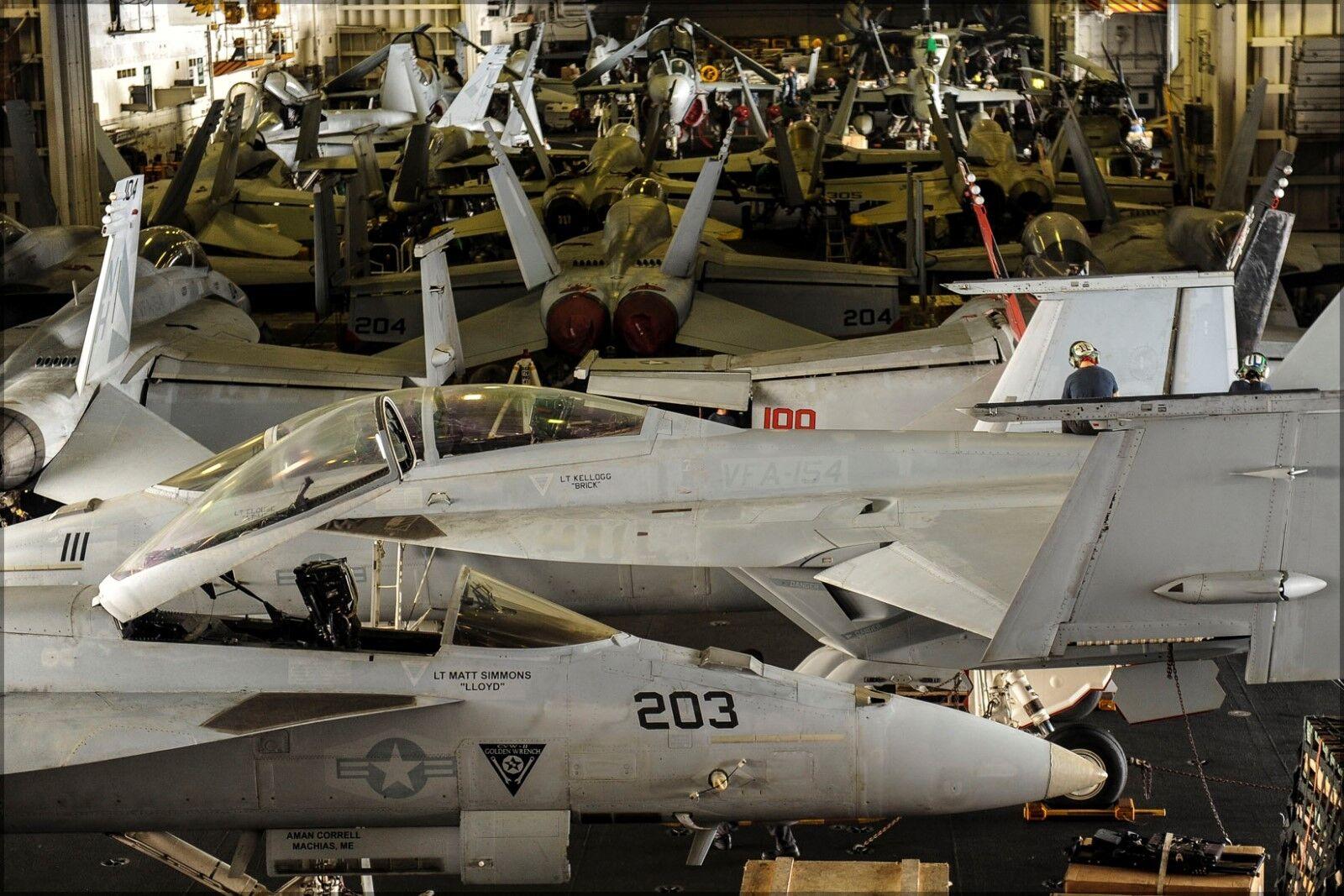 Poster, Many Größes; F-18 Super Hornets In Hangar Bay Uss Nimitz (Cvn-68)