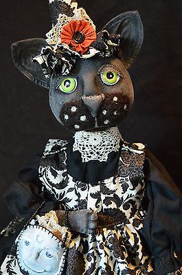 PRIMITIVE/FOLK ART/BLACK CAT WITCH DOLL/HALLOWEEN/ART DOLL/OOAK