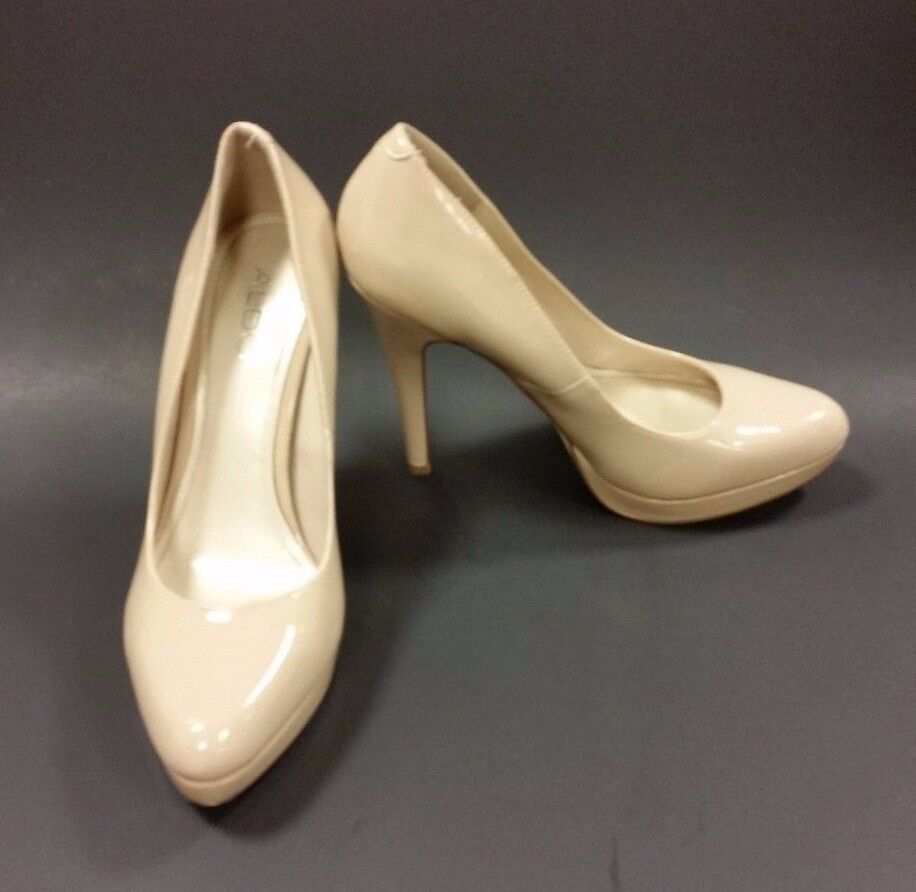 Aldo chaussures Heels Platform Patent Leather Beige femmes Taille 8.5 US 39 EUR