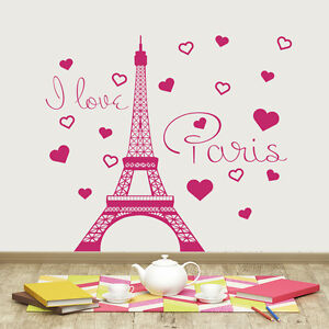 Image Is Loading Eiffel Tower Wall Decal I Love Paris Vinyl