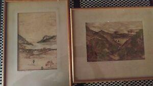 2-x-Bark-Seaweed-Painting-aboriginal-old-antique-signed-034-ODEG-034-Bargain-Perth