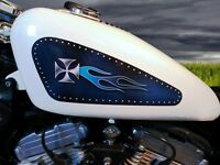 Sportster Gas Tank Decals For Harley Davidson -midnight Blue Riveted Iron Cross