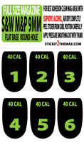 S&w M&p 40 Cal Lime Number Set 1-6 Magazine Base Plate Stickers