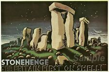 VINTAGE SHELL OIL STONEHENGE ADVERTISING A4 POSTER PRINT