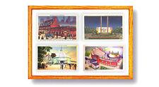Postcard Display Frame & Mat For 4 Vintage / Antique 3-1/2 x 5-1/2 Cards: STAINS