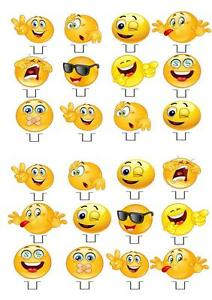 Emoji Ladies STAND UP Cupcake Fairy Cake Toppers Edible Rice Paper Decorations