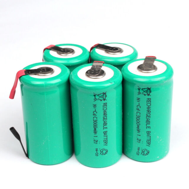 5Pcs 3000mAh Ni-CD C 1.2V Rechargeable Battery with Tab univerisal