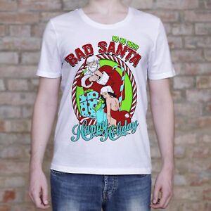 Bad-Santa-Shirt-Happy-Holiday-Christmas-Gift-Men-039-s-Funny-T-Shirt-Present