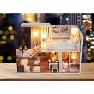 Dollhouse Miniature DIY Kit with Cover Wood Toy Doll House Cottage W/LED lights 727629243457