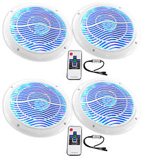 """(4) Rockville RMC65LW 6.5"""" 1200w White Marine Speakers w/Multi Color LED+Remote"""