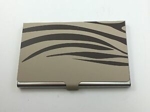 Business Card Carrying Case Stainless Steel Zebra Gold Black