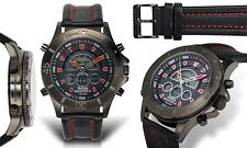 NEW Swiss Master Men's Ana-Digi Diver Multi Function Red Accented Sport Watch