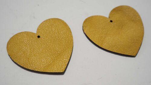Laser Cut Shapes 2 Pc Mustard Yellow Lambskin Leather Heart