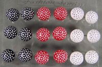 Round Ball Stud Earrings Plastic Sparkle Stick 9 Pair Metal Back Post Red White