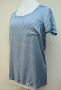 Ladies-Tommy-Hilfiger-Denim-Short-Sleeve-Blouse-Top-100-Silk-Blue-S-M-L-XL-New