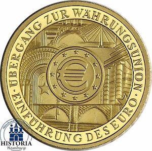 Allemagne 100 Euro 2002 Union Monétaire Pièce D'or Marque D'atelier J-afficher Le Titre D'origine Usshnevb-07224056-739509534