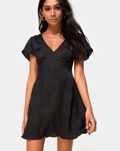 MOTEL ROCKS Elara Dress in Black Satin Cheetah Medium M mr39