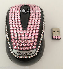 CUSTOMISED CRYSTAL DESIGN MICROSOFT BABY PINK DIAMANTE OPTICAL WIRELESS MOUSE