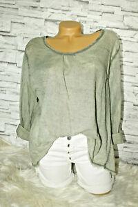 Italy-leichtes-Shirt-Tunika-Bluse-Gr-36-38-40-blogger-khaki-ausgefranst
