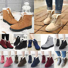 Fashion Women's Boots Flat Ankle Lace Up Cotton Fur Lined Winter Warm Snow Shoes