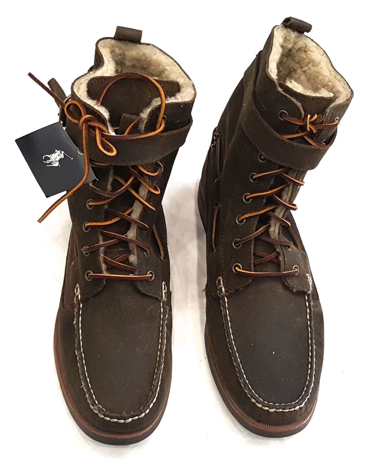 POLO RALPH LAUREN BRENTWOOD  BROWN OILED SUEDE LACE UP BOOT SIZE 11.5D