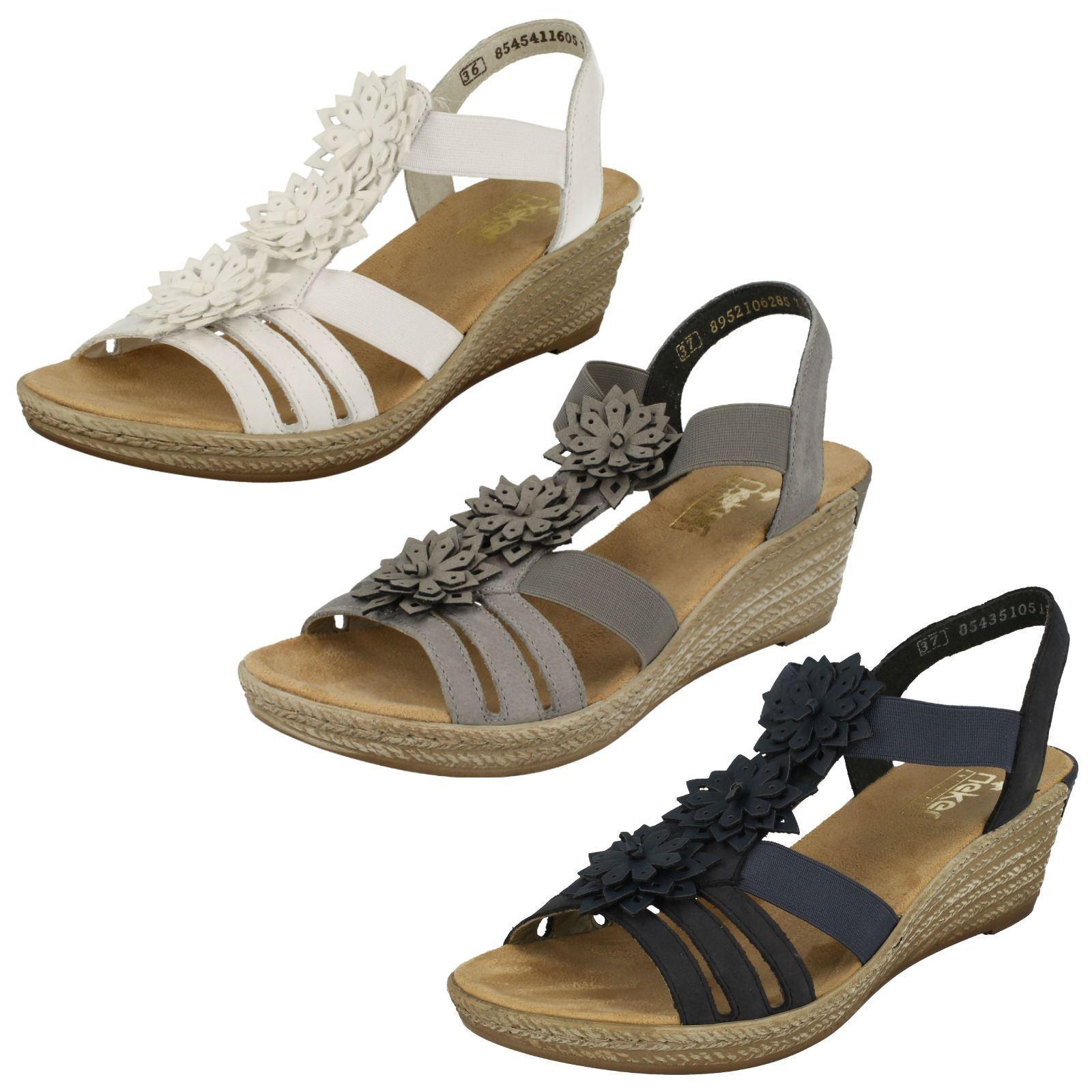 Damen Rieker Rieker Rieker 62461 grau oder weiß Leder Keilabsatz Sandalen  | Outlet Store  6feabc