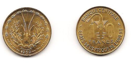 1959 WEST AFRICAN STATES Aluminum Bronze 10 Francs BU