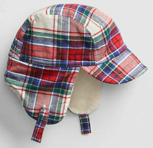 a07ad387e692 0 3 6 9 12 18 24 M BABY GAP Red Ivory COZY PLAID Flannel Trapper Hat ...