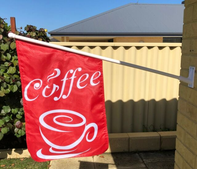 Red Coffee Wall Flag Heavy Duty Double Sided Coffee Flag With Full Kit