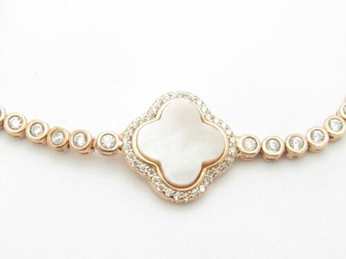 18k Rose Gold Sterling Silver White Sapphire Mother of Pearl Clover Bracelet