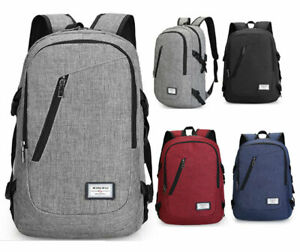 Anti-theft Mens Womens USB Charging Backpack Laptop Notebook Travel School Bag