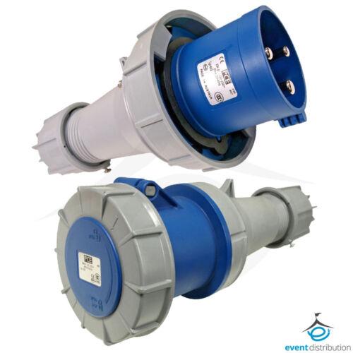 PCE 63 AMP 2P+E 3 Pin 230V//240V IP67 Rated Trailing Plug /& Socket 63A Waterproof