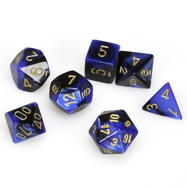 Chessex Gemini Blue/Black Dice W/Gold Markings 7-Dice Set