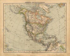 Cartina Geografica Haiti.Carta Geografica Antica America Settentrionale 1897 Old Antique Map Ebay