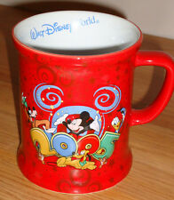 "Walt Disney World 2005 red 3D ceramic coffee MUG ""Where the Party Never Ends!"""
