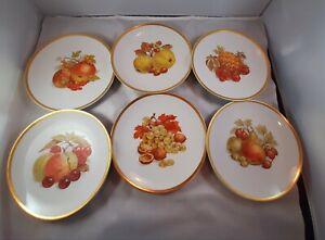 6-Golden-Crown-E-amp-R-Germany-Harvest-Fruit-Dessert-Salad-Cheese-Plates