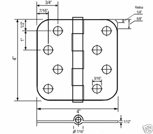 """12 PC Antique Brass 4/"""" X 4/"""" w 5//8/"""" Radius Round Exterior Door Hinges 4 Inch"""