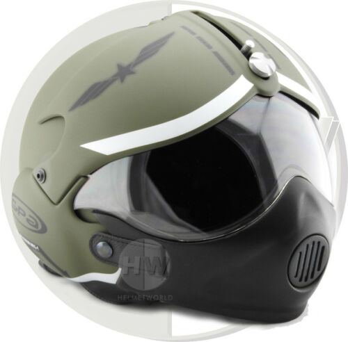 MASK ARMY OPEN FACE SCOOTER MOTORCYCLE HELMET OSBE GPA AIRCRAFT TORNADO GREEN