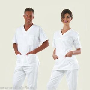 Completo-OSS-Divisa-Bianca-Casacca-Pantalone-Infermiere-igenista-Dentale