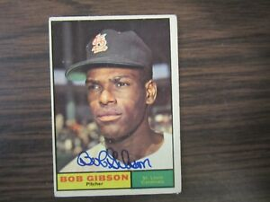 1961-Topps-211-BOB-GIBSON-autograph-Signed-card-St-Louis-Cardinals