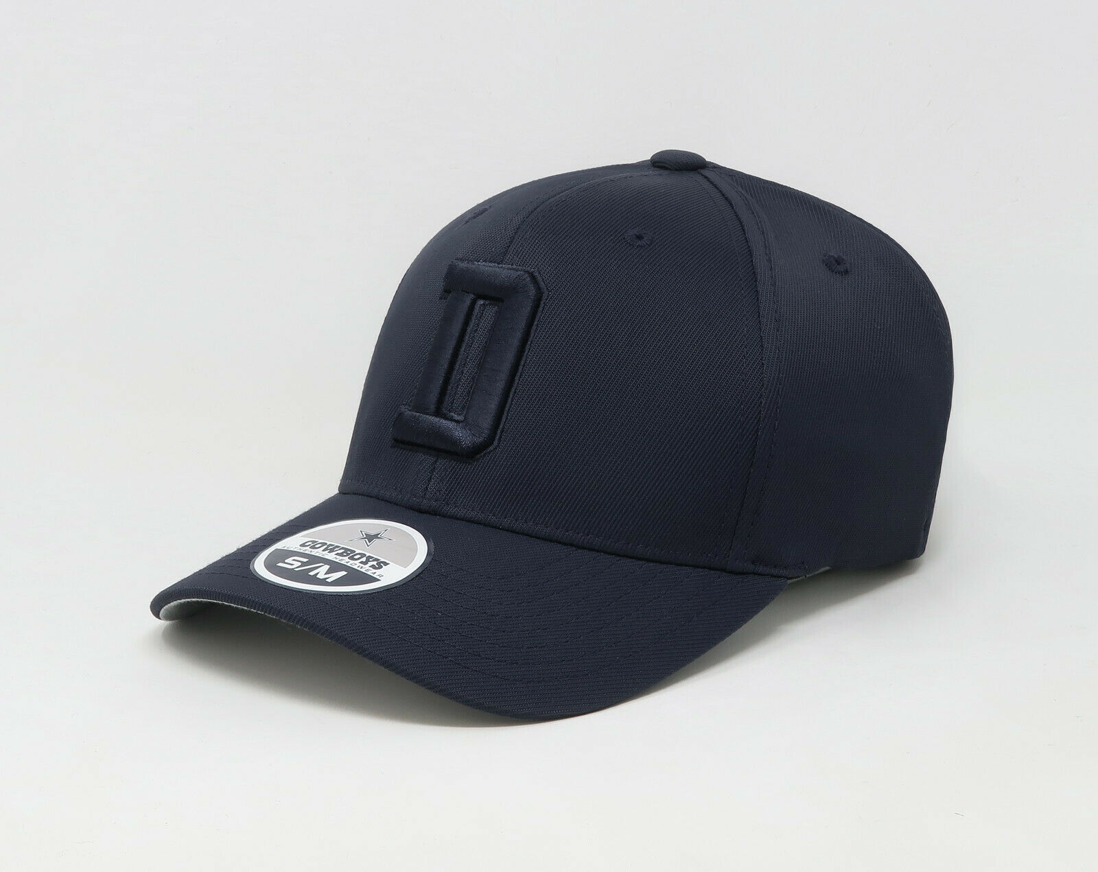 "COWBOYS Hat Cap Men Women Total Tonal /""D/"" Navy Blue Stretch Fit"