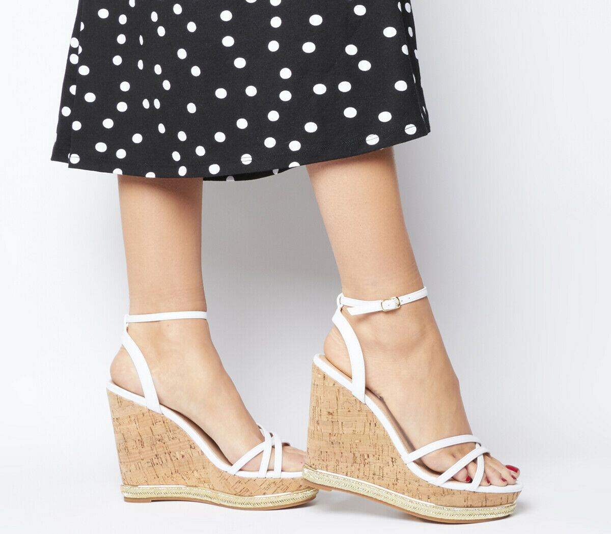 Womens Office Honcho Strappy Glam Cork Wedges White Heels