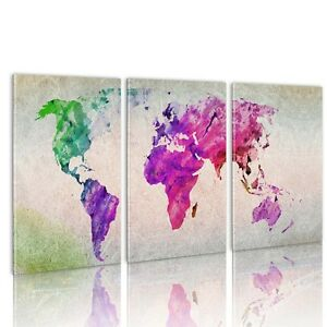 3pc large colorful world map hd canvas wall art paintings print 3pc large colorful world map hd canvas wall gumiabroncs Images