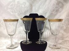 1930 4ct Depression Era Gold Rim Tall Stemmed Glasses; Excellent Cond