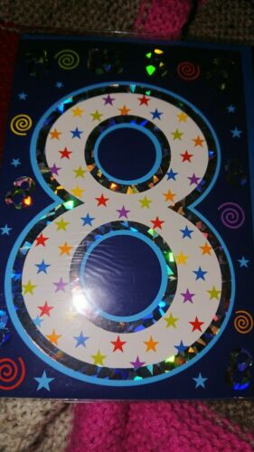 Age 8 eight Happy Birthday greetings card