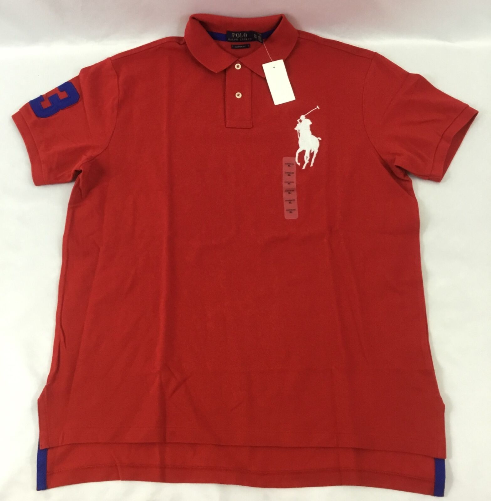Ralph Lauren Uomo Number Custom Fit Polo Shirt Number Uomo 3 Oversized Logo rosso Size L dc21ed