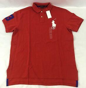 Ralph Lauren Men Custom Fit Polo Shirt Number 3 Oversized Logo Red ... 895ef347a3ab